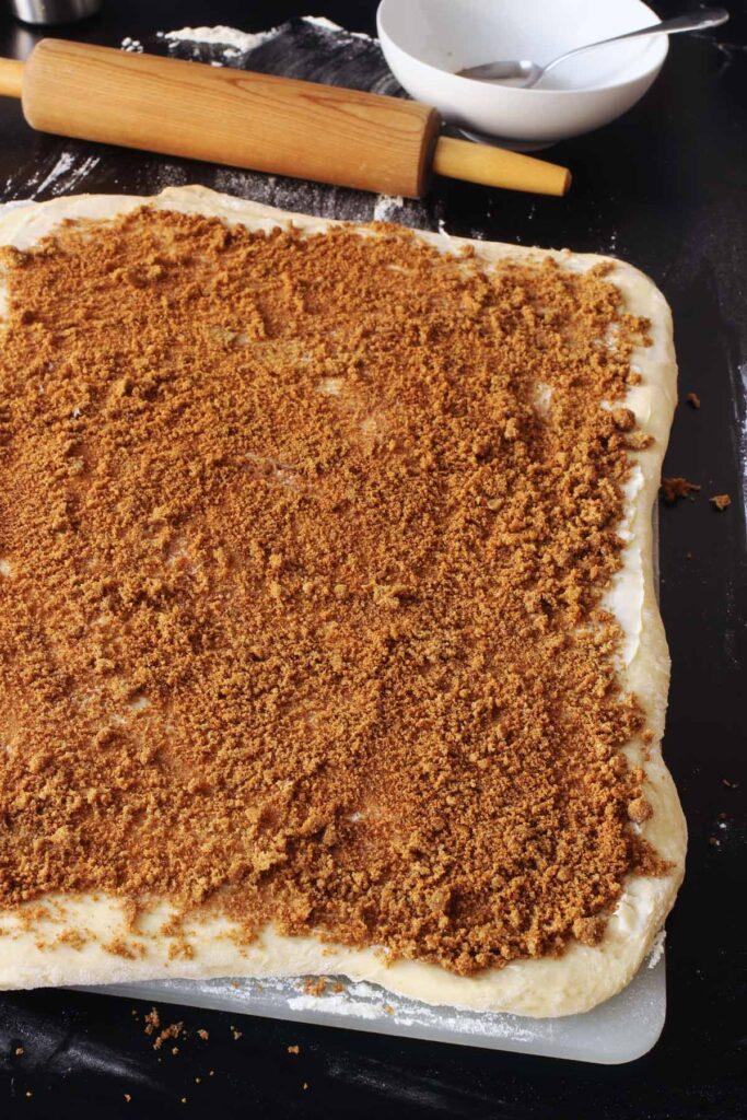 cinnamon sugar on dough