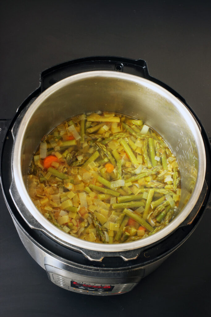 cooked vegetables and broth