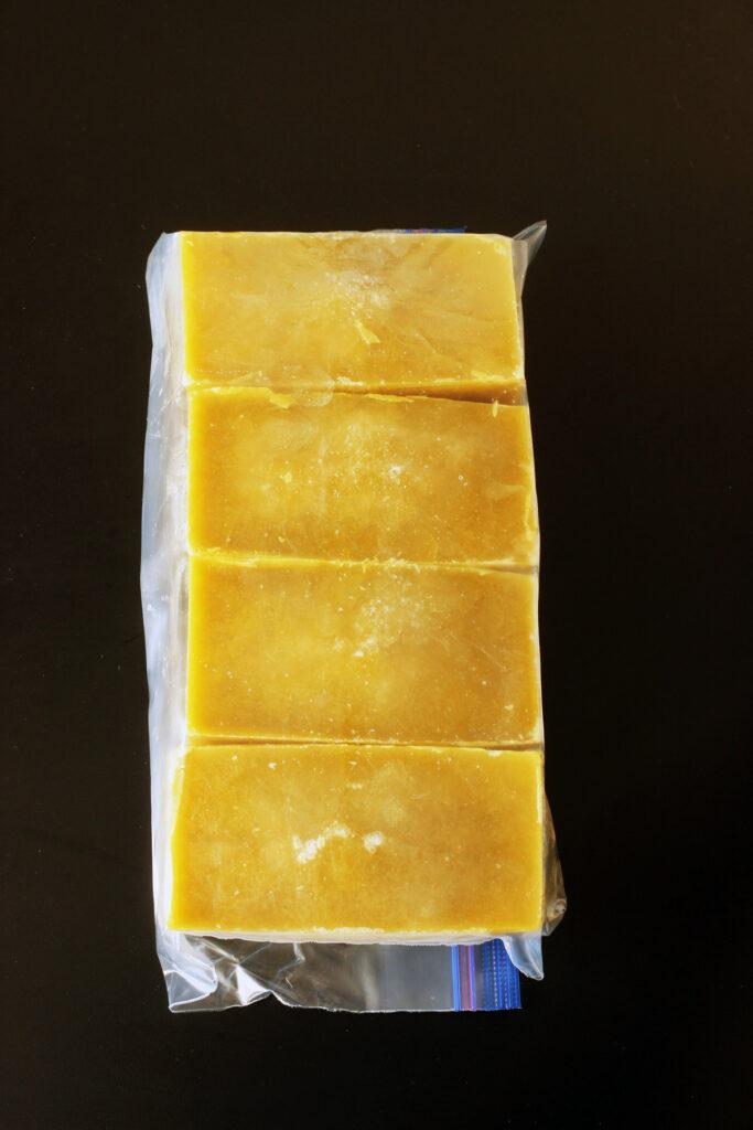 frozen bricks of soup in bag