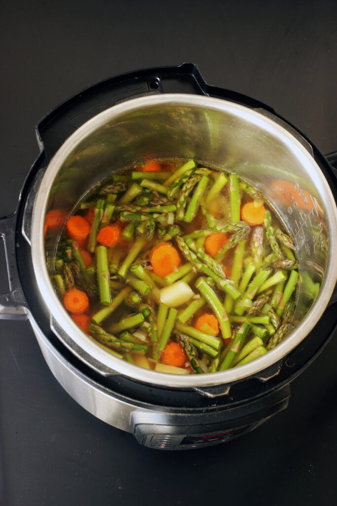vegetables and broth in pot