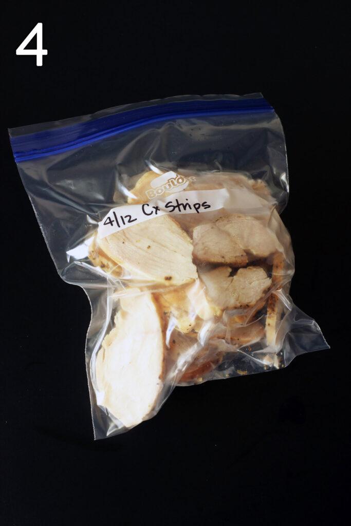 frozen strips in ziptop freezer bag.