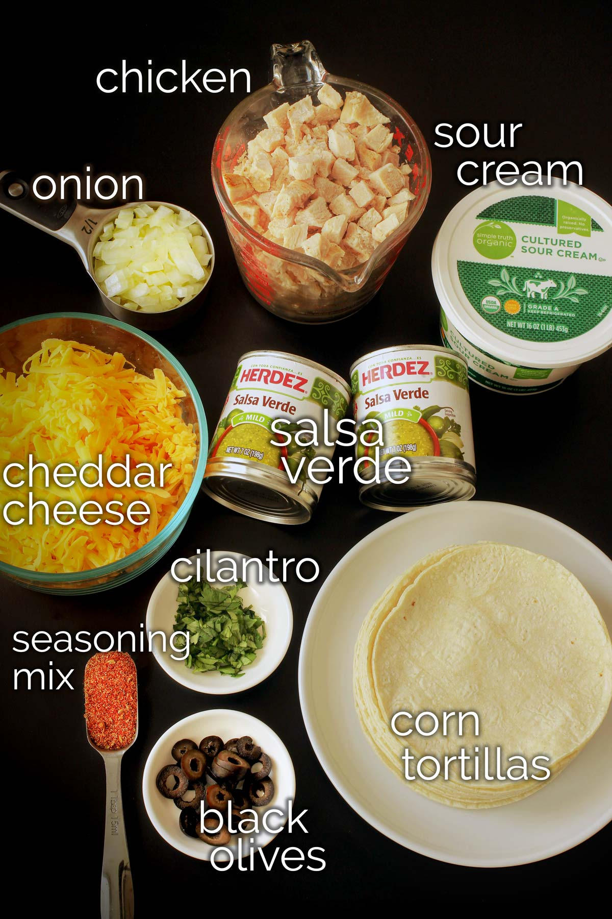 ingredients for sour cream chicken enchilada casserole laid out on the table.