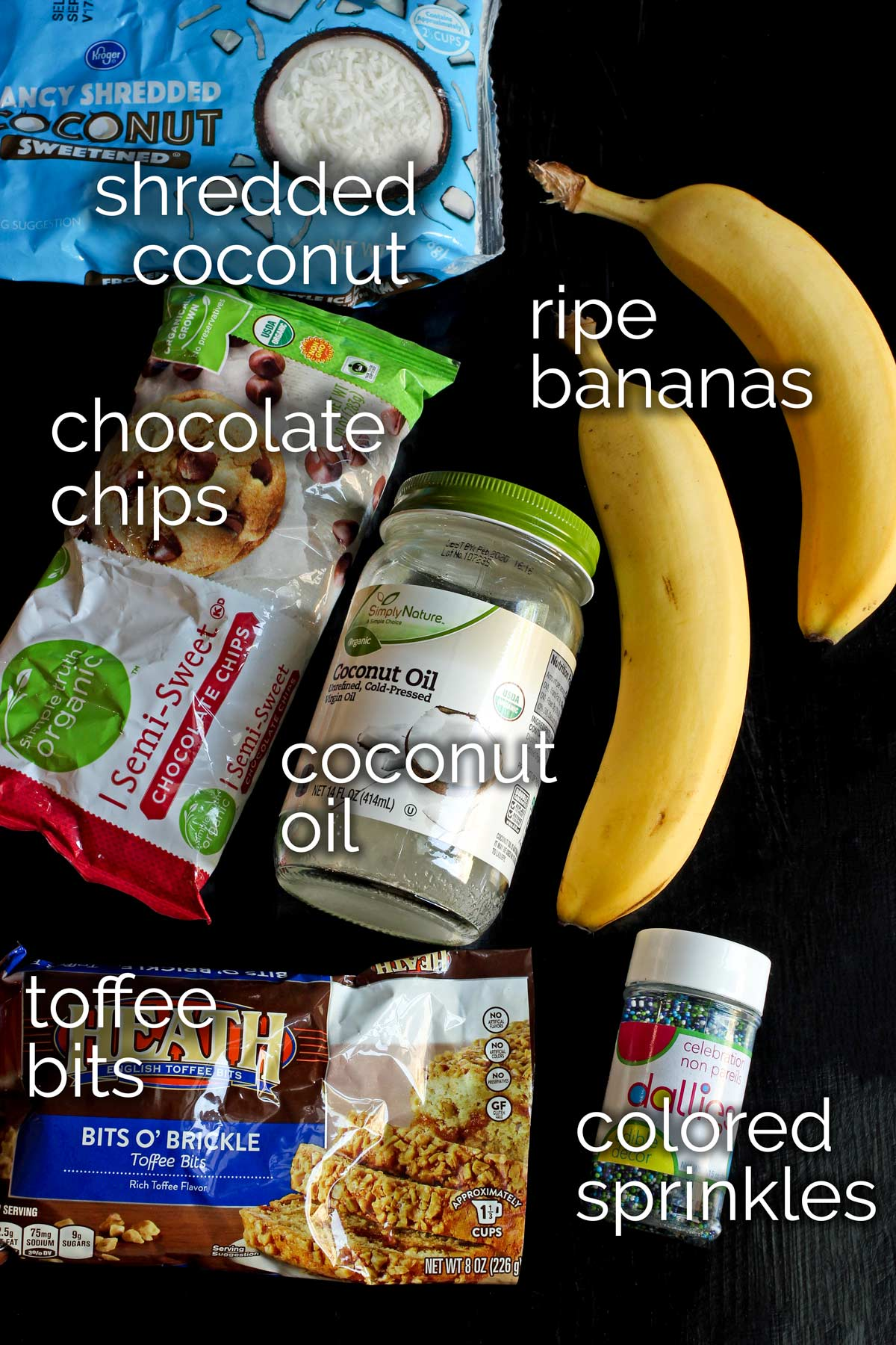 ingredients for frozen chocolate bananas laid out on tabletop.