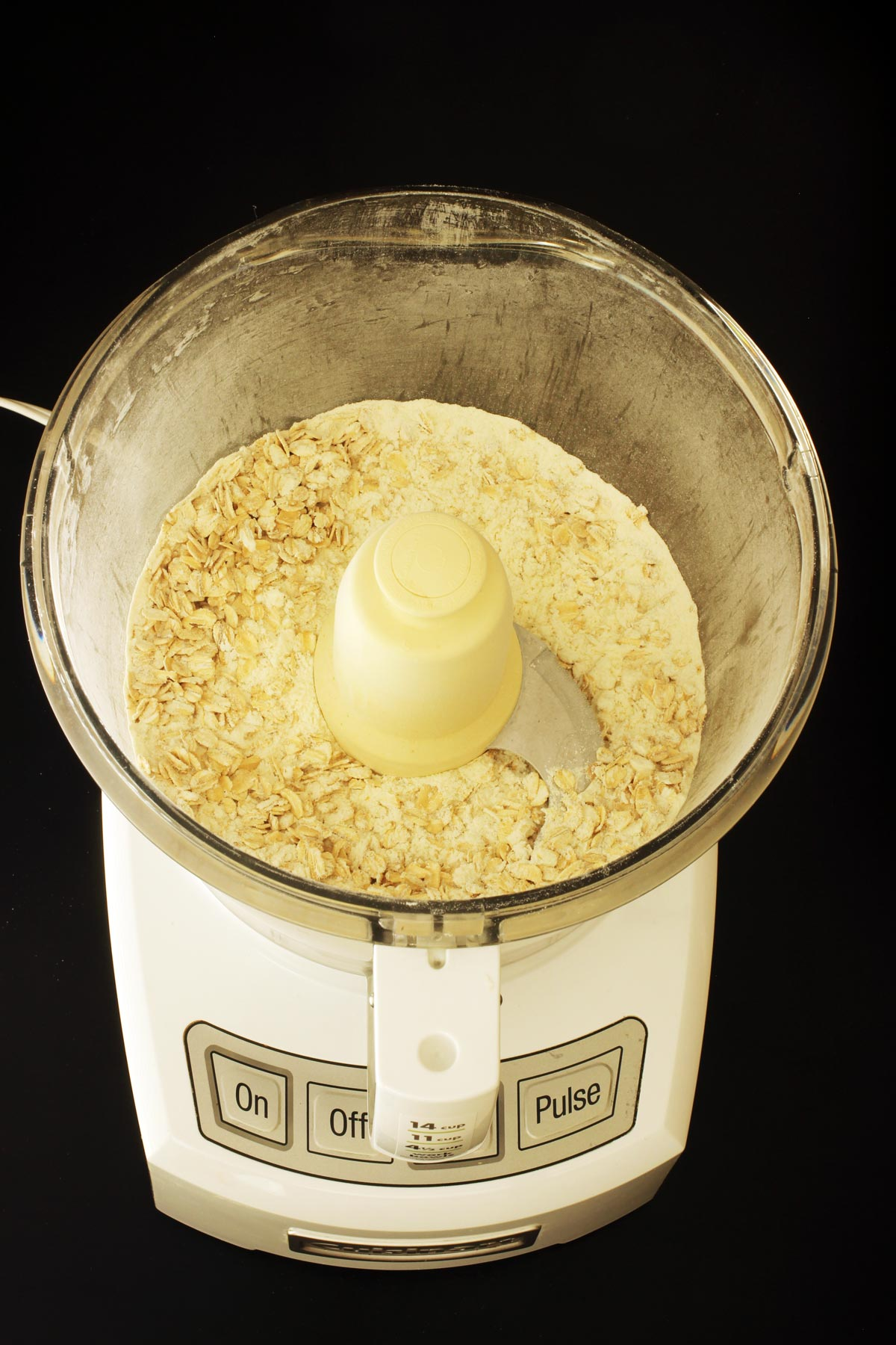 lightly pulsed dry ingredients in the food processor bowl.