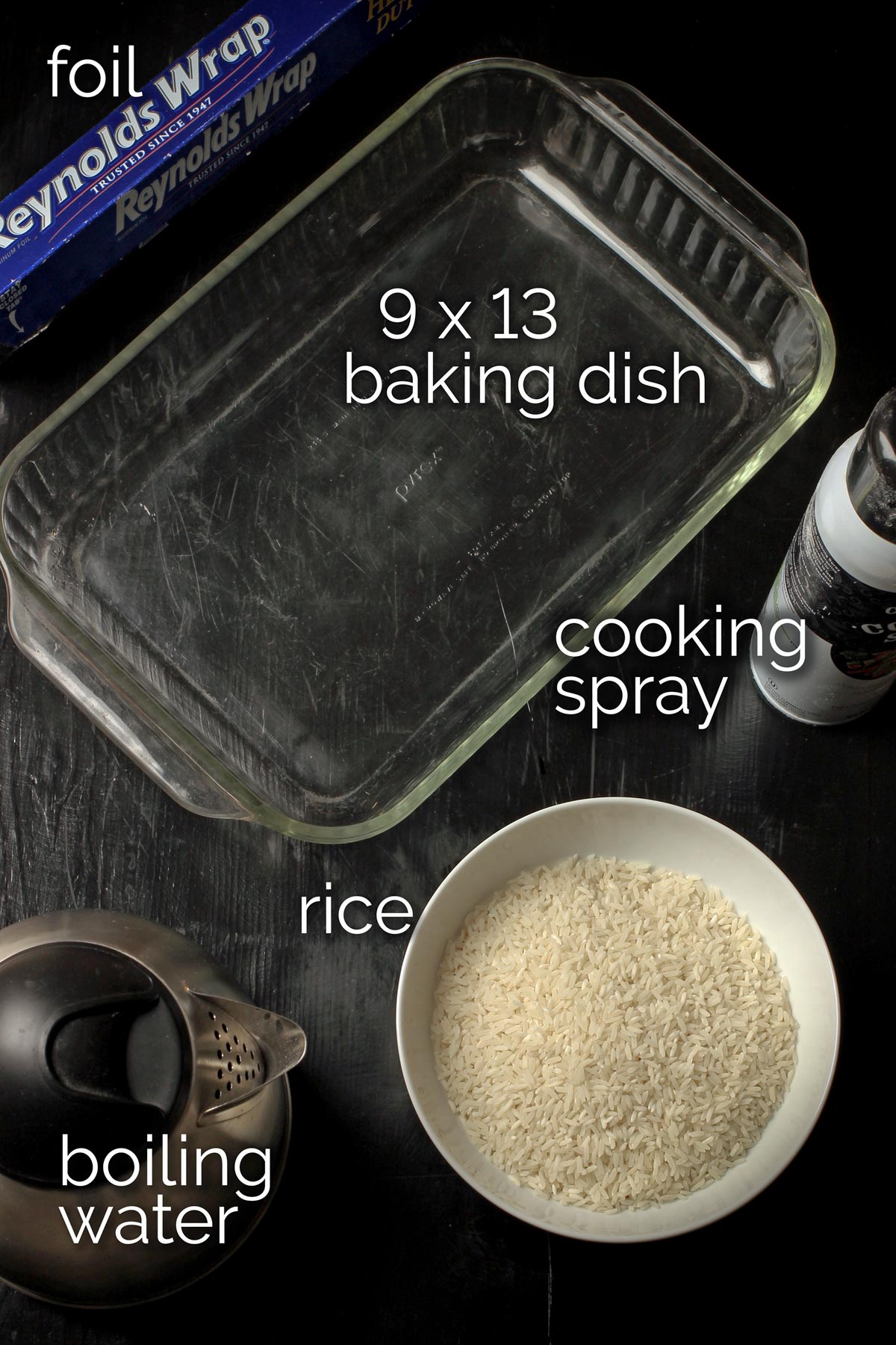ingredients and equipment needed to make baked rice on tabletop.