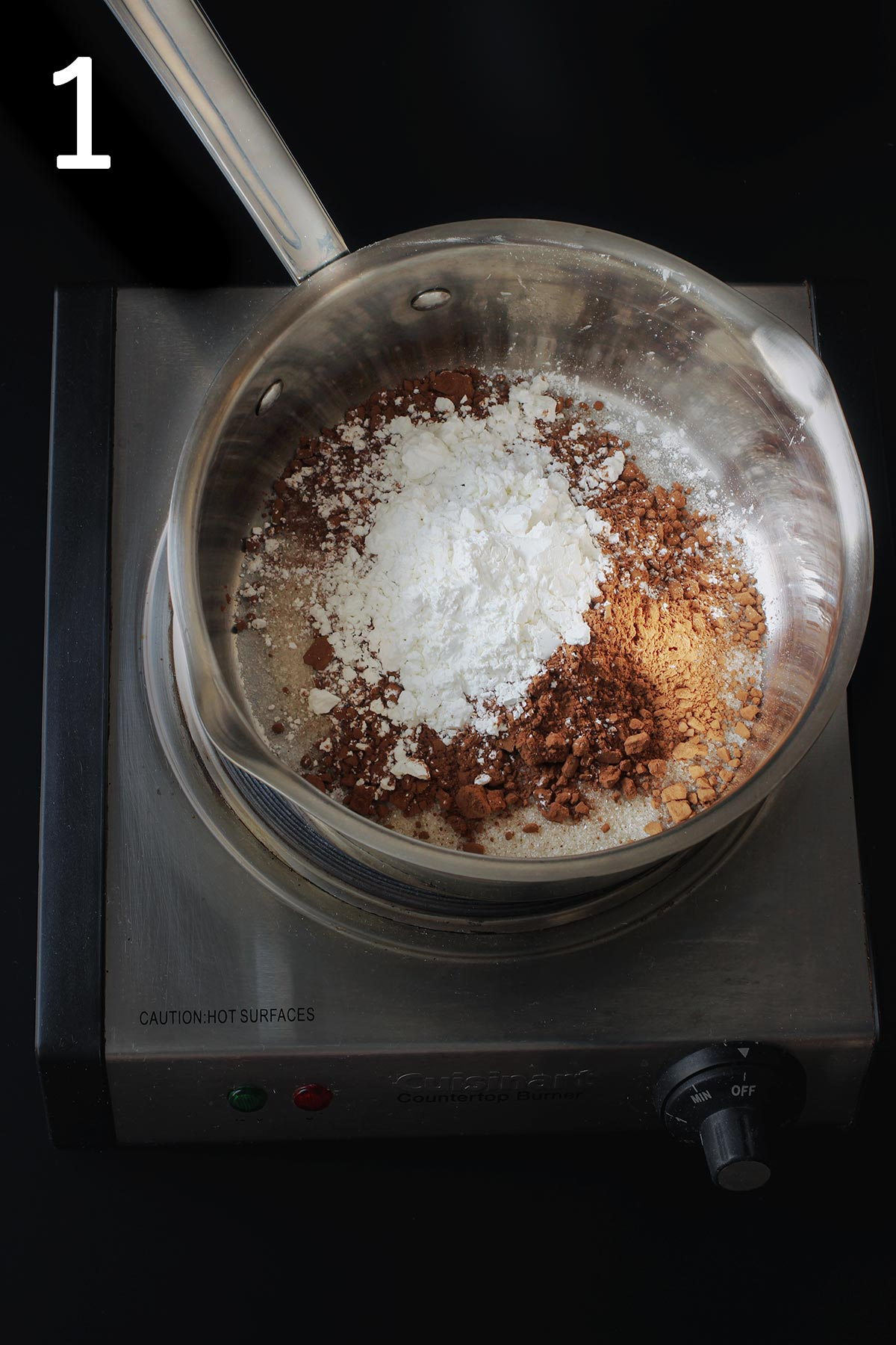 dry ingredients for pudding in a 4-quart sauce pan.