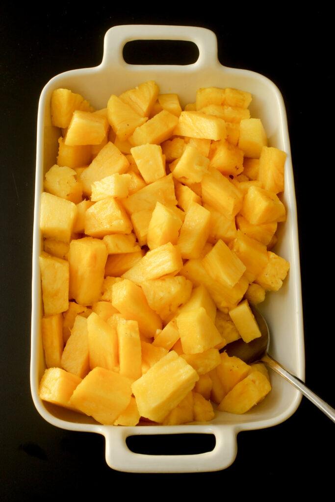 pineapple cubes in rectangular dish.