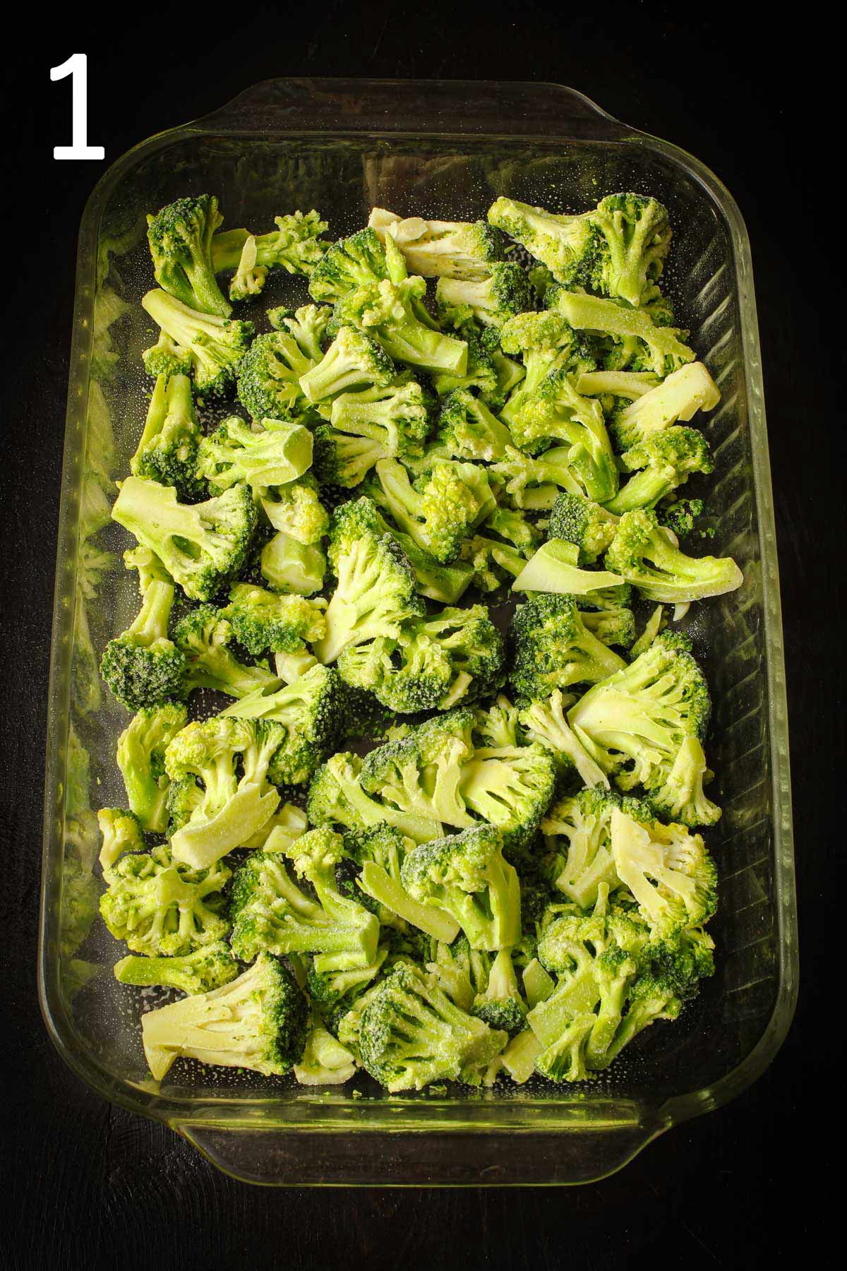 layer of cooked broccoli on bottom of greased 9x13-inch pan.