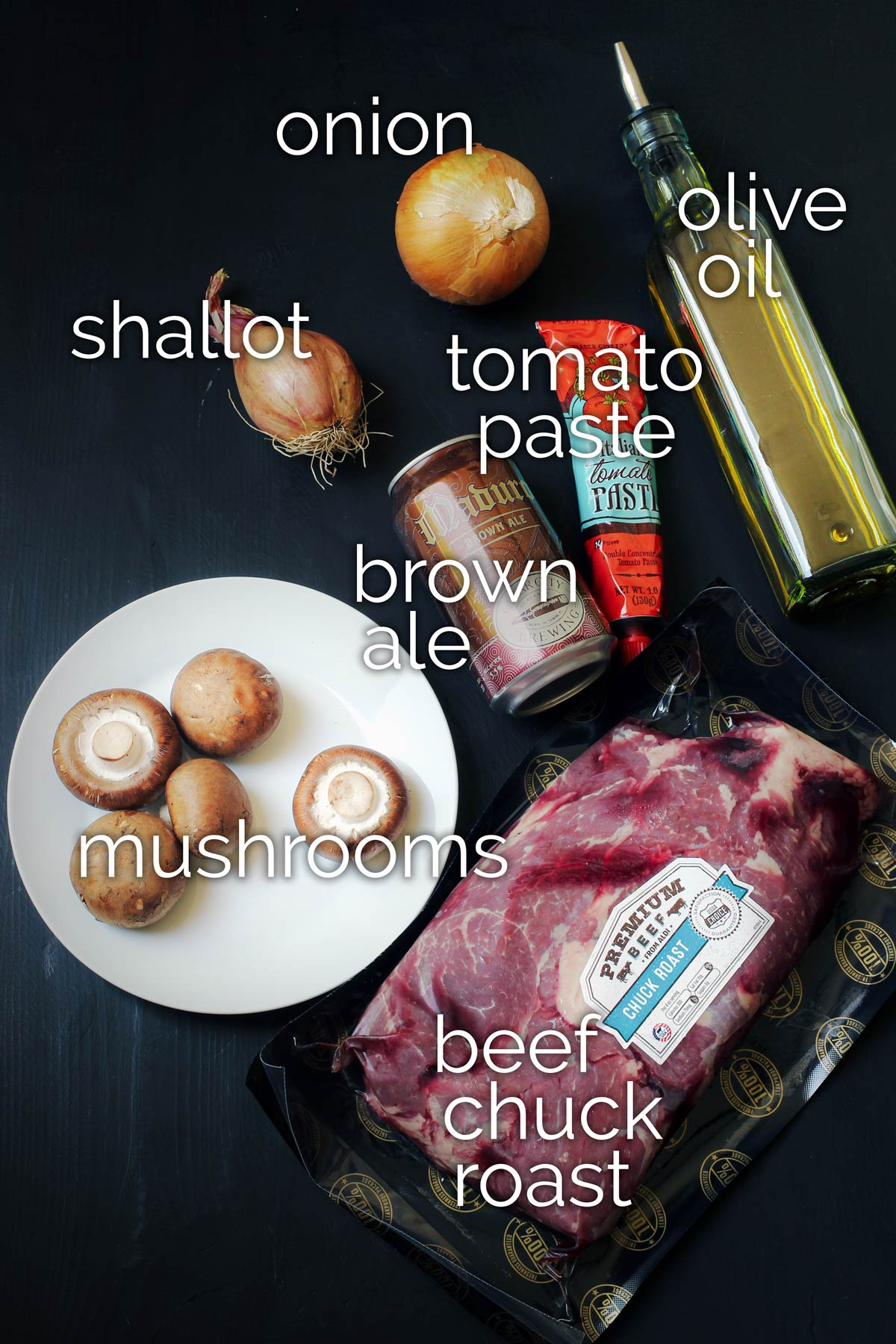ingredients for cooking chuck roast in the slow cooker.