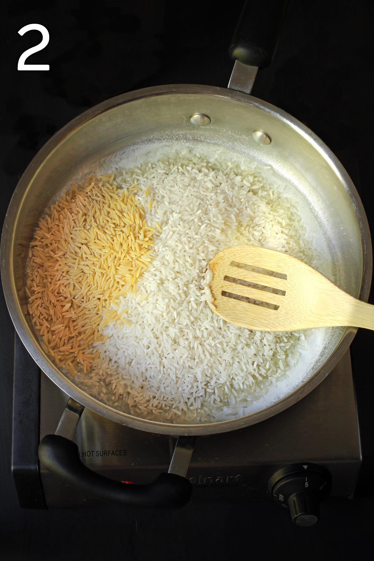 adding rice and orzo to the melted butter in the pan.