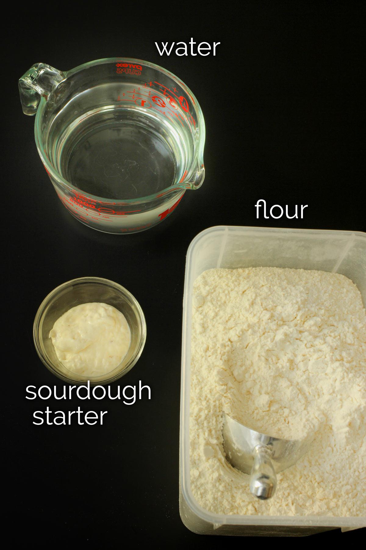 ingredients for feeding sourdough starter.