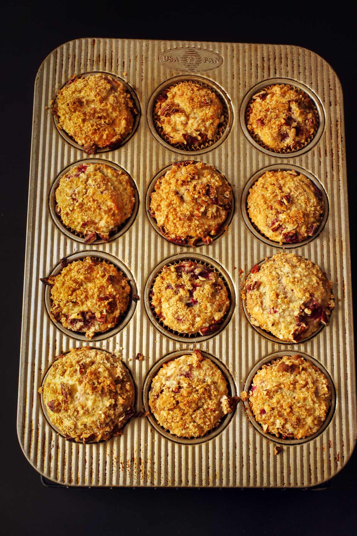baked muffins in the pan.