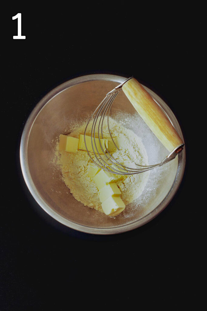 butter and flour in mixing bowl with pastry blender.