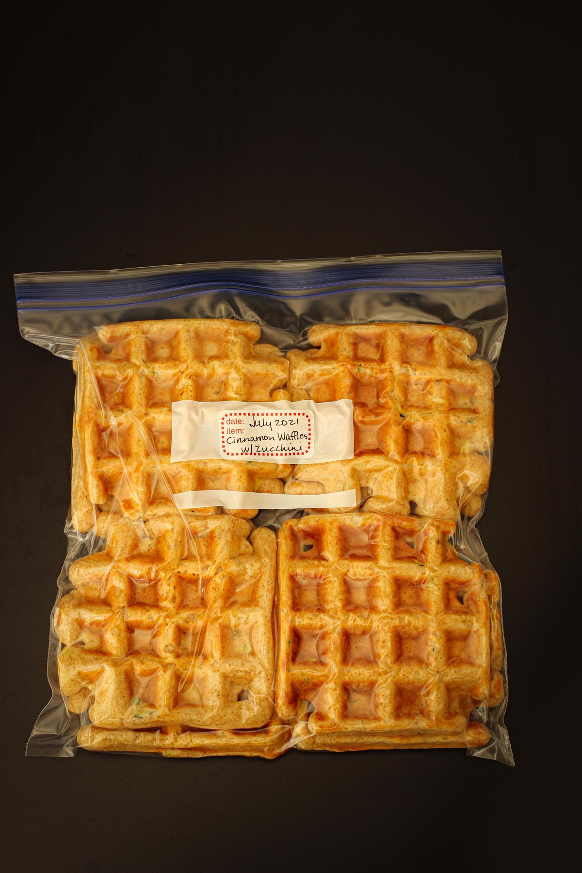 cinnamon waffles bagged up for freezing.