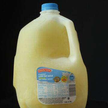 frozen milk in plastic gallon-size jug