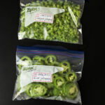 bags of chopped and sliced jalapenos for freezing.