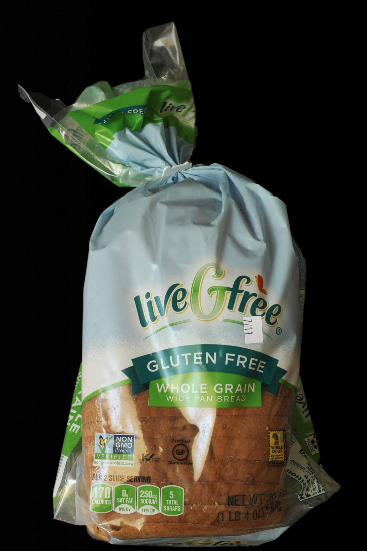 loaf of ALDI gluten free bread in its original packaging.