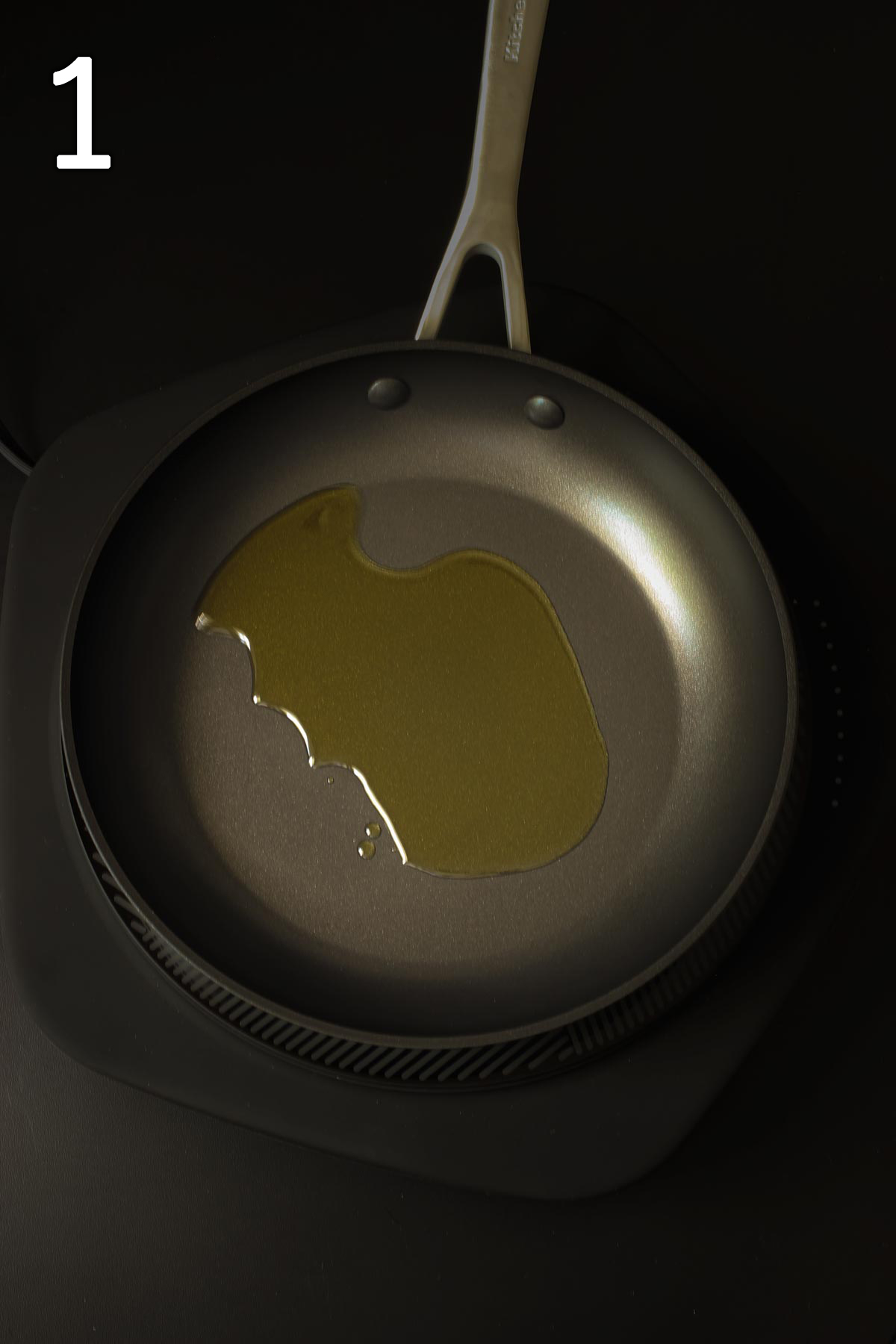 heating oil in a skillet.