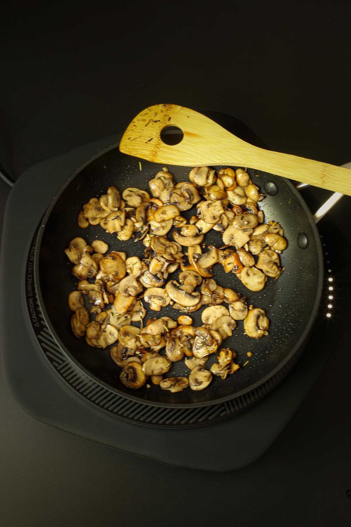 sauteed mushrooms in the skillet.
