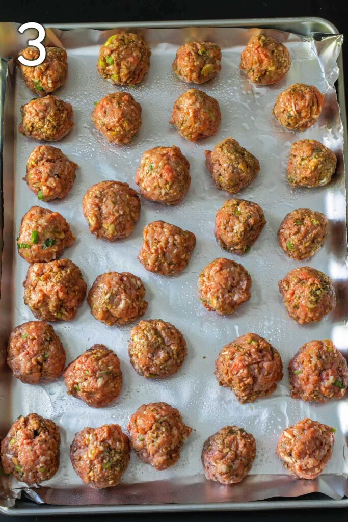 formed meatballs on the prepared baking sheet.