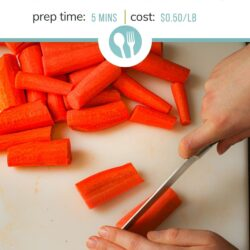 PIN image of woman cutting carrot sticks on a white cutting board.