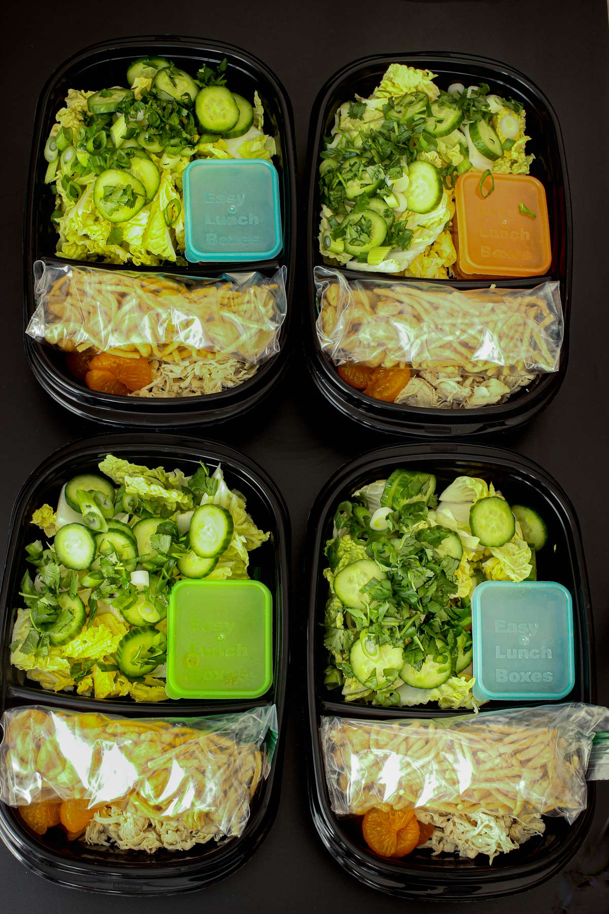 asian cabbage salad in four meal-prep boxes.