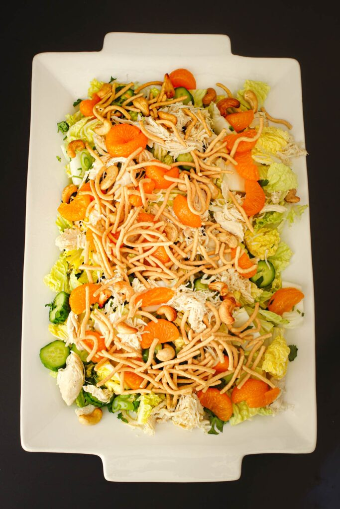 chow mein noodles topping the salad platter.