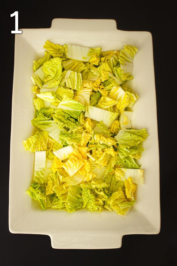 cabbage on serving platter.