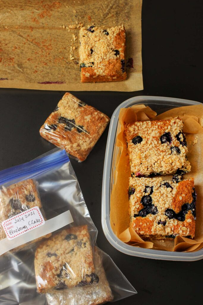 coffee cake portioned and wrapped for freezing.