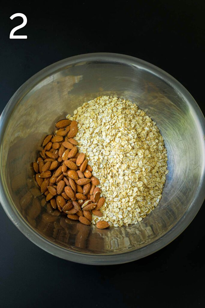 nuts and oats in large mixing bowl.