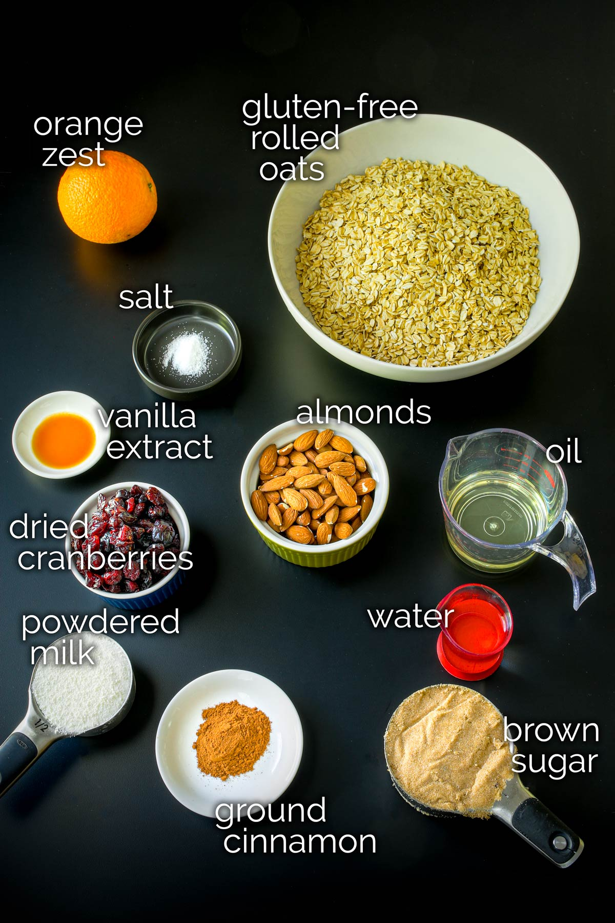 ingredients for gluten-free granola laid out on a table.