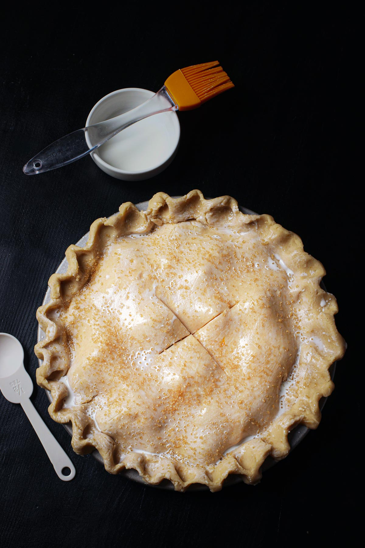 coarse sugar sprinkled over pie crust.