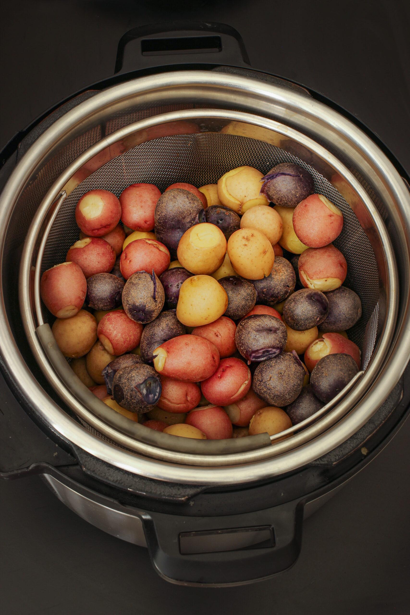 potatoes in instant pot insert.