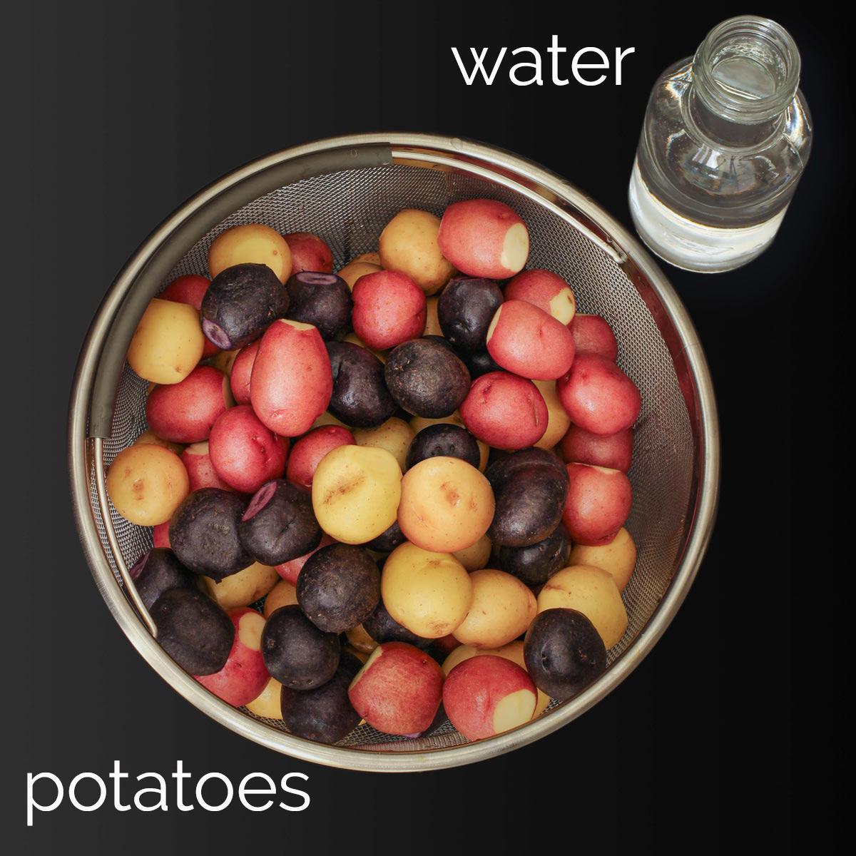 ingredients for instant pot boiled potaotes.