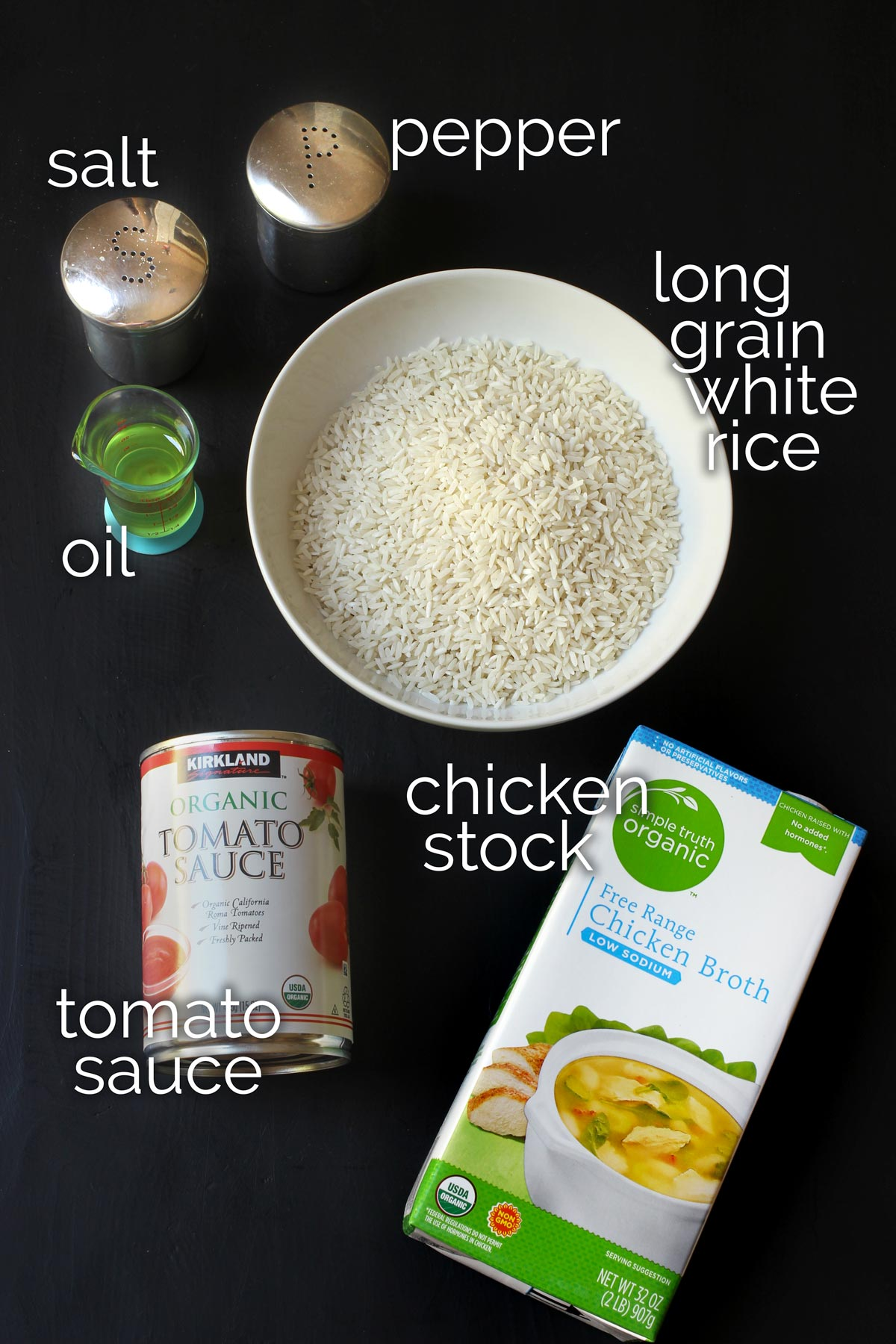 ingredients to make Mexican rice.