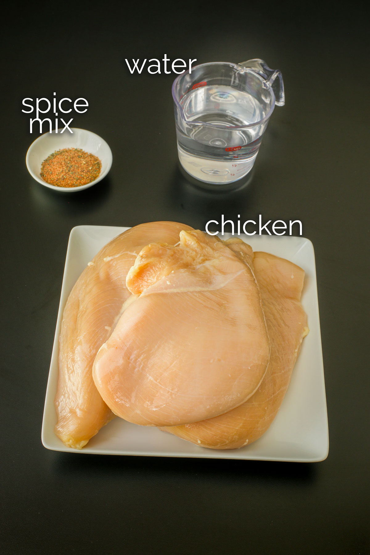 ingredients to make seasoned shredded chicken to make in pressure cooker.