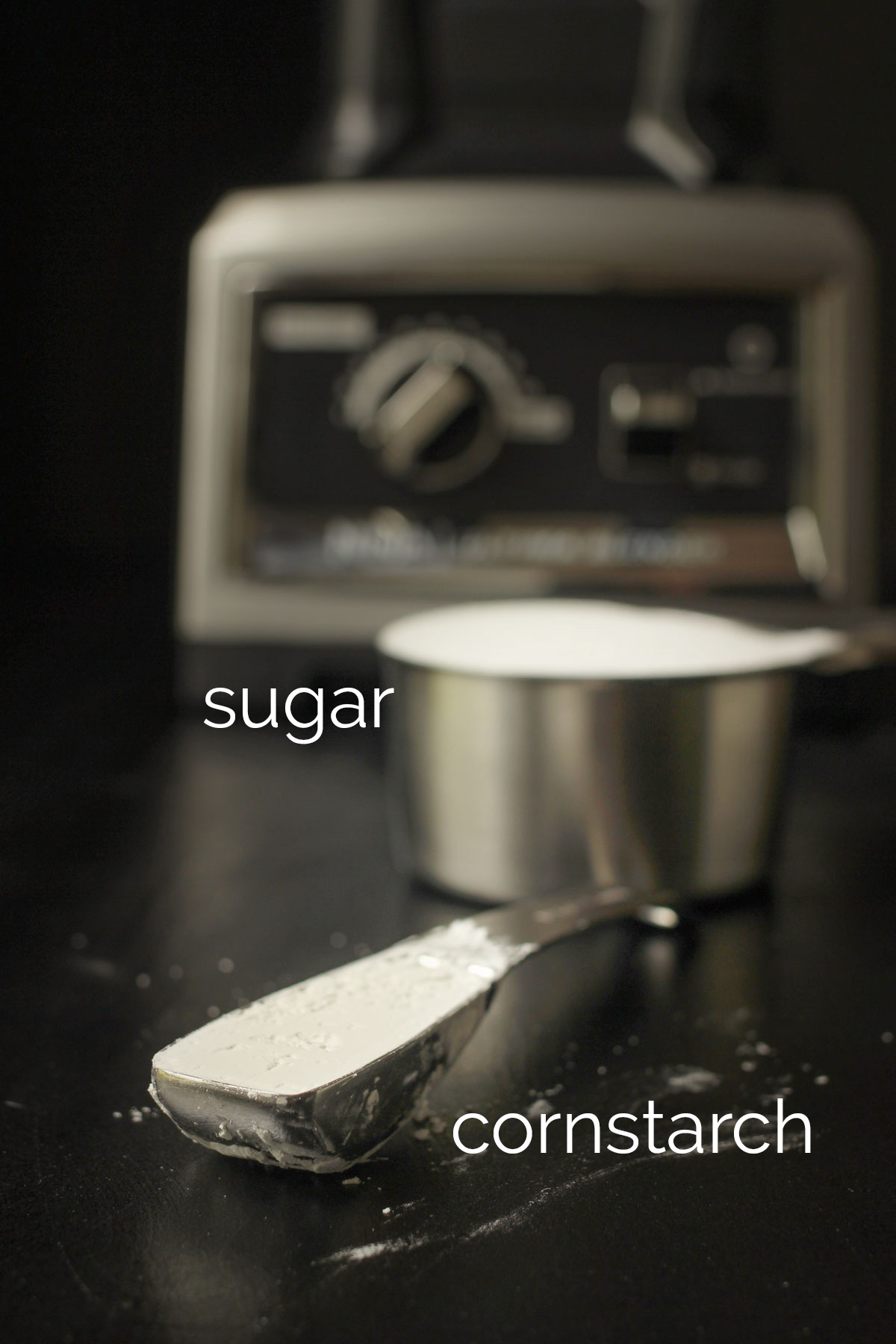 sugar and cornstarch measured out near blender.