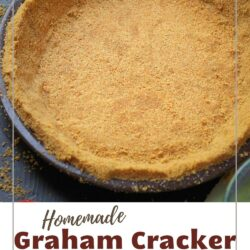 graham cracker pie crust on work surface, labeled with the name of the recipe, for pinterest.