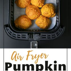 six pumpkin biscuits nestled in the basket of an air fryer.