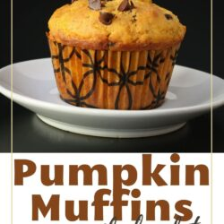 pumpkin muffin close up on white plate.