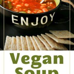 bowl of vegan soup in black bowl next to saltine crackers.