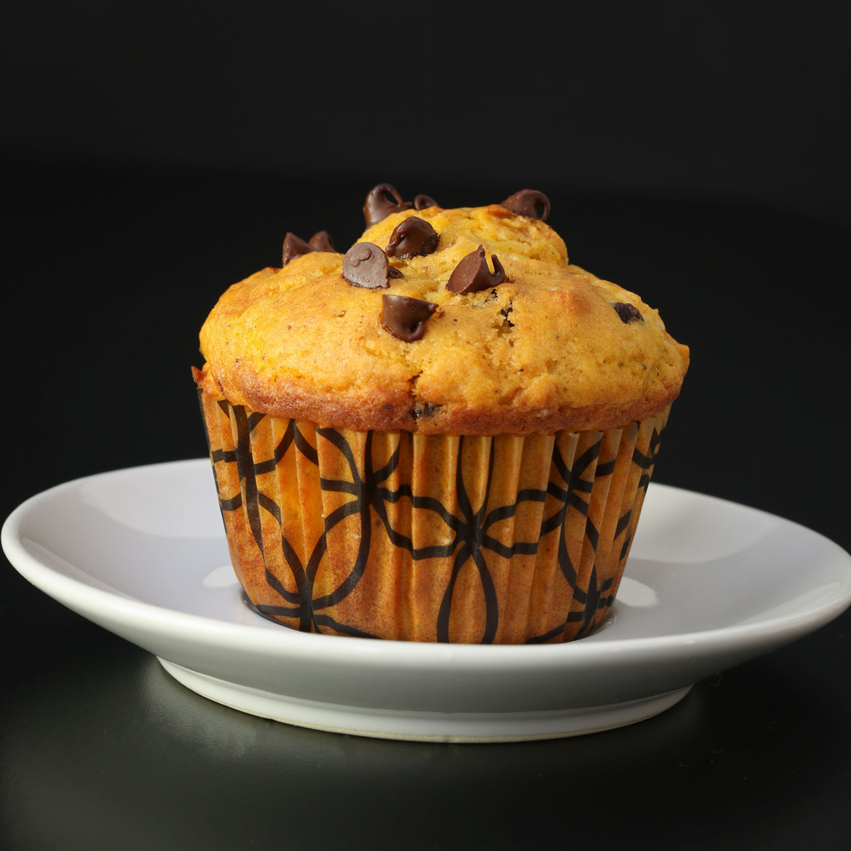 chocolate chip pumpkin muffin on white saucer in front of black background.