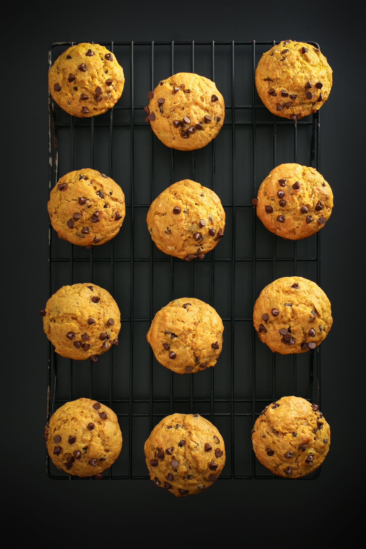baked chocolate chip pumpkin muffins cooling on rack.
