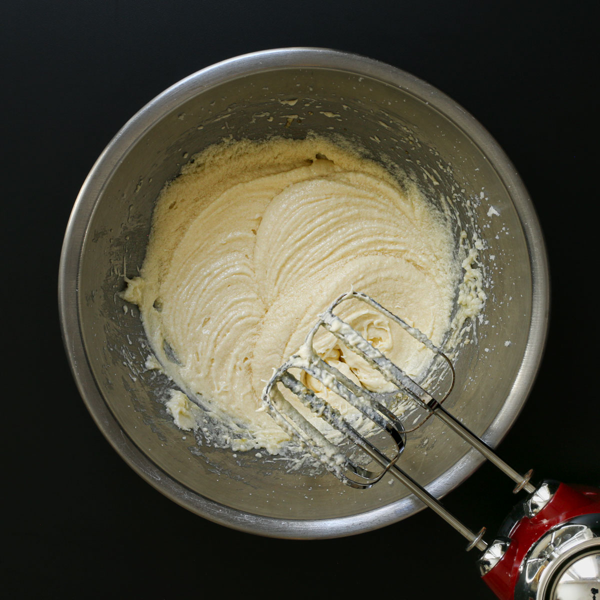 all wet ingredients creamed together in mixing bowl with mixer.