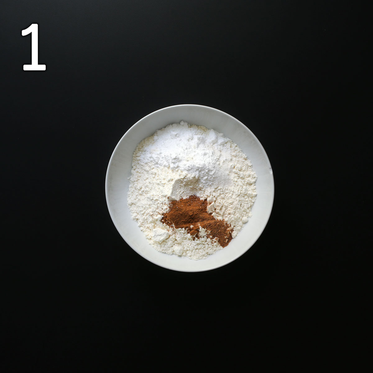 dry ingredients in small white bowl.