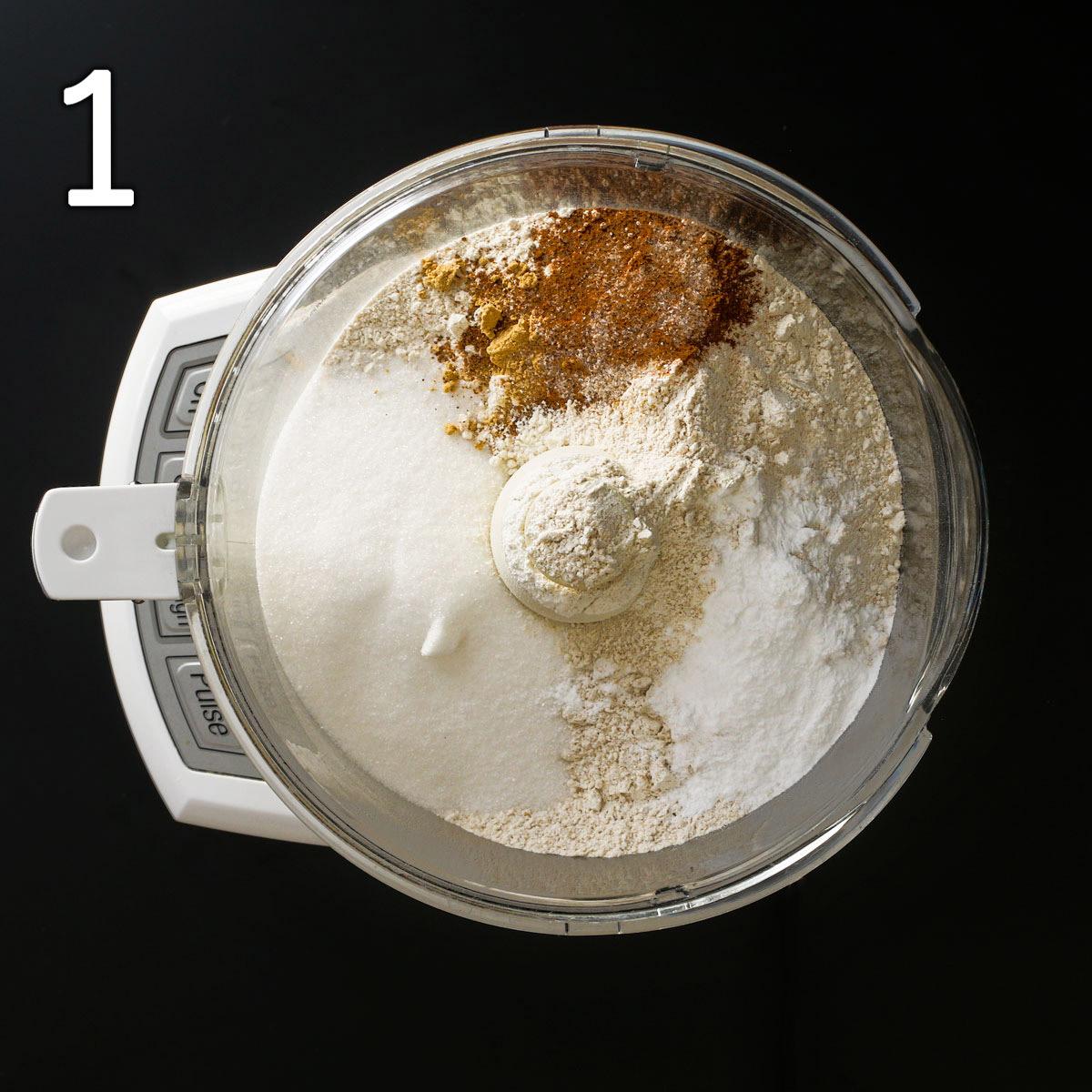 dry ingredients in food processor bowl.
